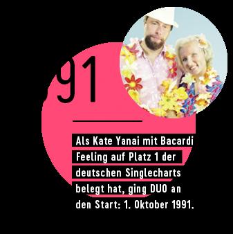 1991 - Als Kate Yanai mit Bacardi Feeling auf Platz 1 der deutschen Singlecharts belegt hat, ging DUO an den Start: 1. Oktober 1991.